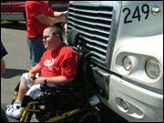 Man in wheelchair gets a wild ride